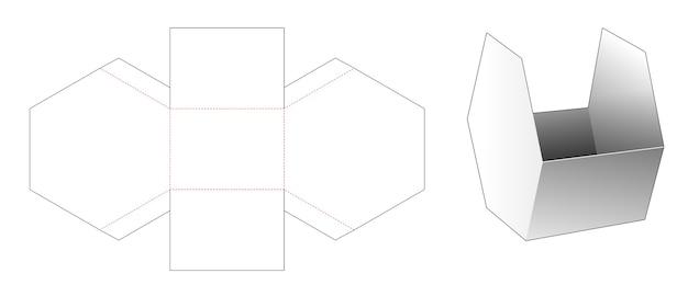 Modello fustellato di contenitore per snack esagonale in cartone