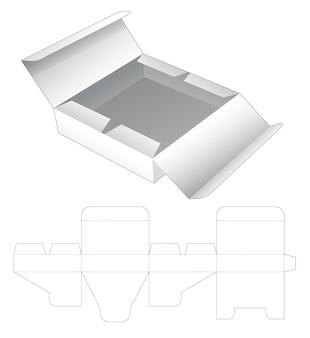 Modello fustellato per scatola di latta con apertura centrale in cartone