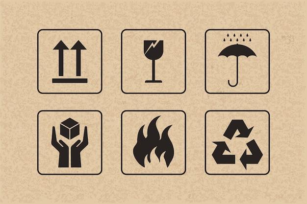 Set di icone di imballaggio in cartone.