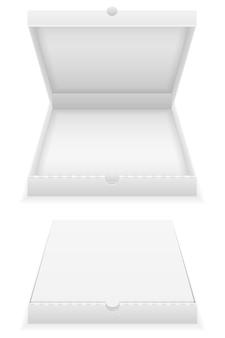 Scatola per pizza in cartone modello vuoto su bianco