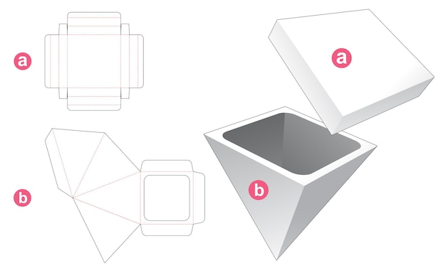 Scatola piramidale in cartone con sagoma fustellata coperchio