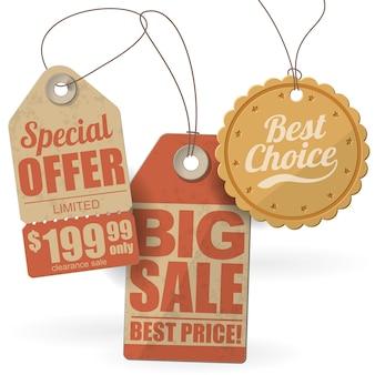 Set di modelli di etichette e tag di vendita di cartone.