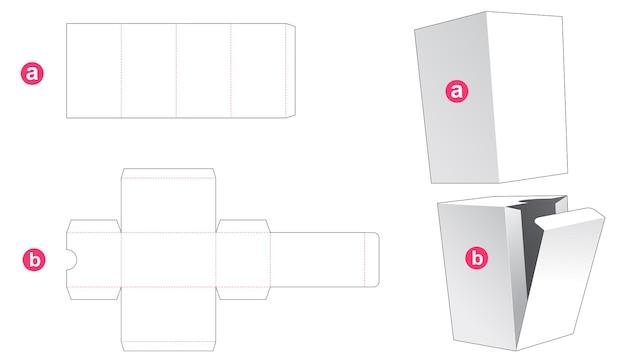 Scatola di cartone semplice e modello di copertina fustellata