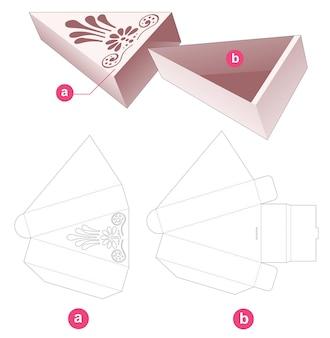 Scatola triangolare scorrevole in cartone con coperchio con sagoma fustellata mandala stencil