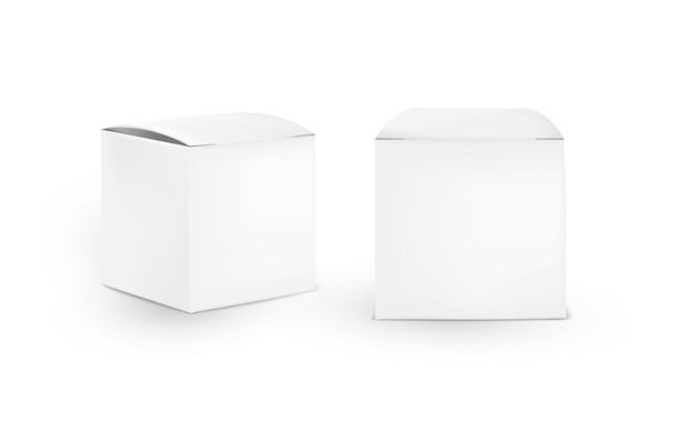 Scatola cosmetica quadrata di cartone isolata