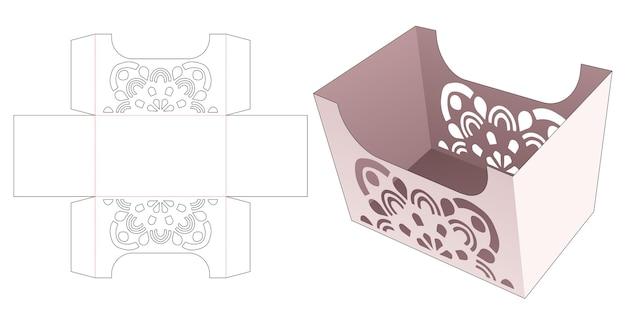 Scatola di cartone con modello fustellato mandala stencil