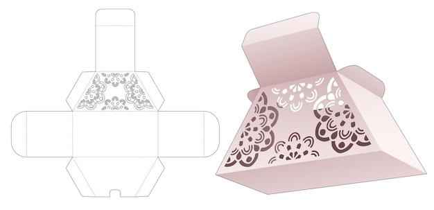 Scatola trapezoidale di cartone con modello fustellato mandala stencil