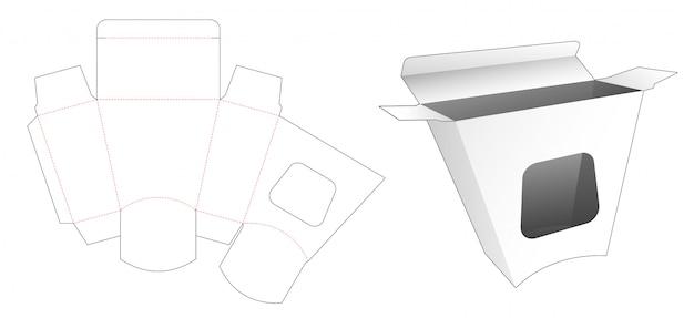 Scatola di cartone a forma trapezoidale con sagoma di finestra fustellata