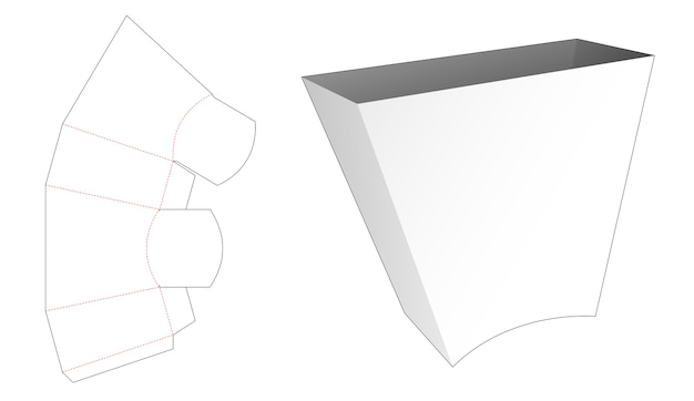 Modello fustellato di contenitore per snack di forma trapezoidale in cartone