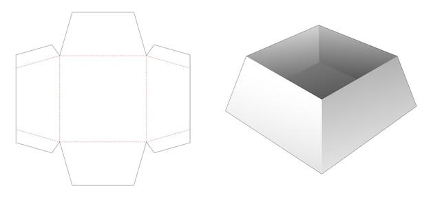Modello fustellato per vassoio trapezoidale in cartone
