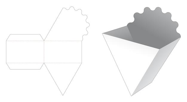 Modello di cartone fustellato contenitore fritto francese triangolare
