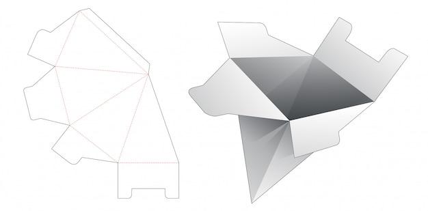 Modello fustellato scatola di imballaggio triangolare di cartone