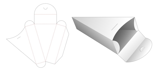 Sagoma fustellata scatola di cartone triangolare