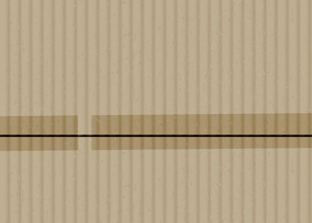 Cartone con strisce di nastro adesivo realistico sfondo vettoriale. superficie di cartone ondulato marrone con illustrazione di bordi incollati. materiale da imballaggio con pezzi di nastro adesivo. trama di cartone beige