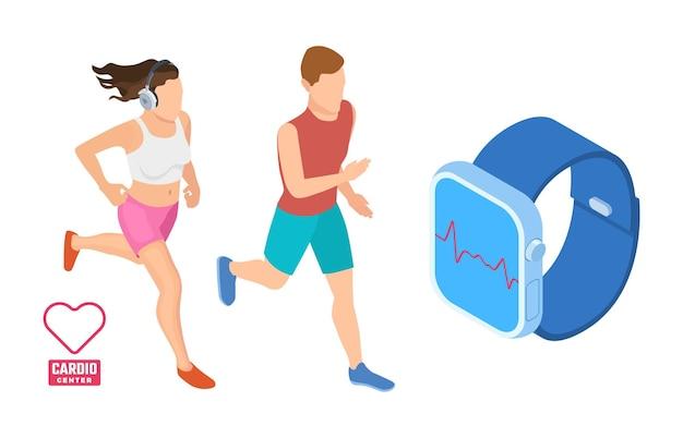 Concetto di allenamento cardio. corridori isometrici che monitorano l'attività cardiaca. illustrazione vettoriale di fitness intelligente. app salute sul dispositivo smartwatch gadget