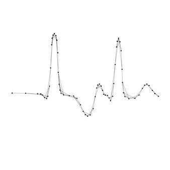 Cardiogramma, sinusoide sbagliata da linee e punti neri poligonali futuristici astratti. illustrazione vettoriale.
