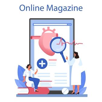 Servizio o piattaforma online di cardiologo. idea di cura del cuore e diagnostica medica. i medici curano le malattie cardiache. rivista on line. illustrazione vettoriale piatta