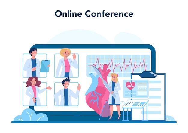 Servizio online del cardiologo o illustrazione della piattaforma