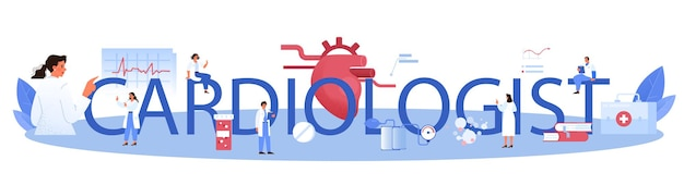 Intestazione tipografica del cardiologo. idea di cura del cuore e diagnostica medica. i medici curano le malattie cardiache. chirurgo degli organi interni. illustrazione isolata in stile cartone animato