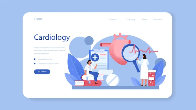 Banner web o pagina di destinazione del cardiologo. idea di cura del cuore e diagnostica medica. i medici curano le malattie cardiache. chirurgo degli organi interni. illustrazione isolata in stile cartone animato