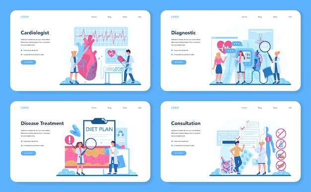 Banner web cardiologo o set di pagine di destinazione. idea di cura del cuore e diagnostica medica.