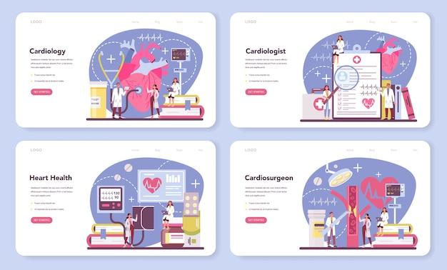 Banner web cardiologo o set di pagine di destinazione