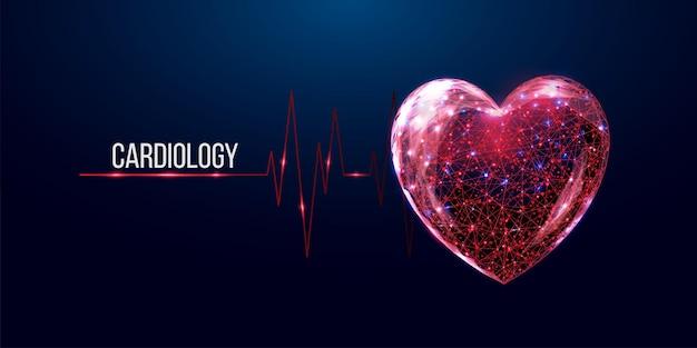 Bandiera di concetto di cardiologia. cuore rosso in stile wireframe basso poli.