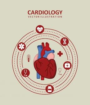 Disegno di cardiologia sopra illustrazione vettoriale beige sfondo