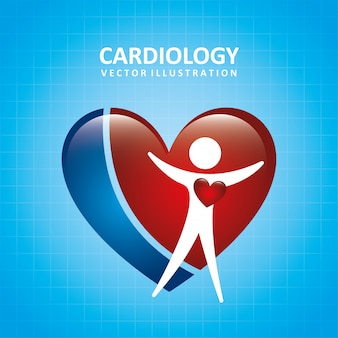 Progettazione di cardiologia sopra l'illustrazione blu di vettore del fondo