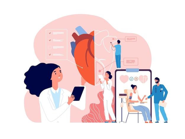 Cardiologia. check up cardiaco sanitario, cardiologi e pressione cardiovascolare. ricerca sui trapianti, concetto di vettore di malattia ipertensiva. salute medica cuore cardiovascolare, diagnosticare illustrazione