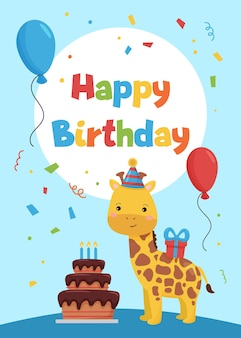 Modello di carte per inviti festa di compleanno e biglietti di auguri con giraffa di cartone animato.