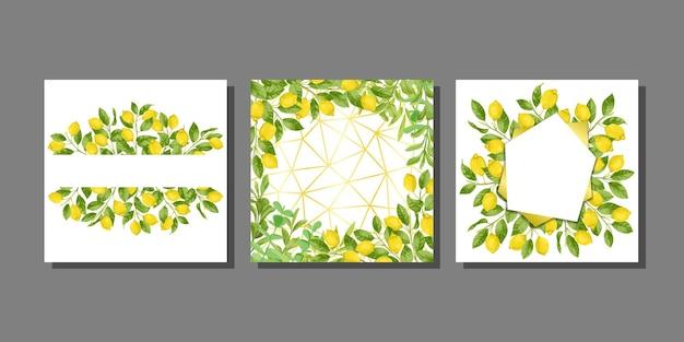 Modelli di carte impostati con brunch al limone