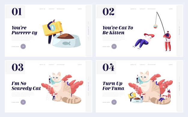 Set di pagine di destinazione del sito web di cura degli animali