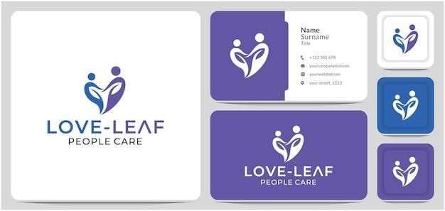 Cura amore logo design le persone amano la foglia d'amore per la clinica ospedaliera medica online