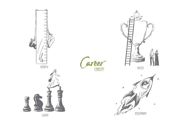 Illustrazione di schizzo di concetto di sviluppo di carriera