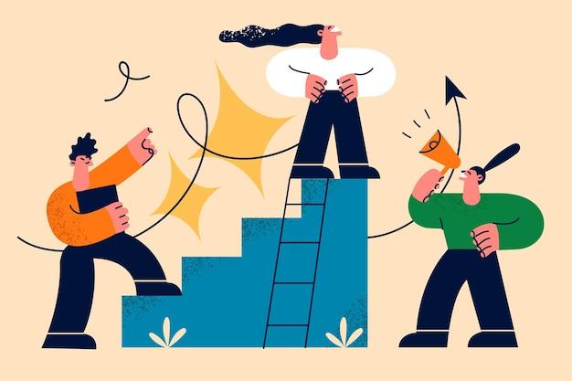 Carriera, sviluppo, crescita nel concetto di lavoro.