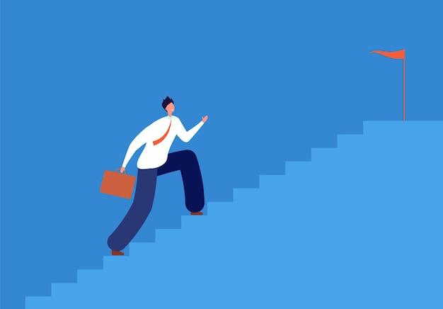 Obiettivo di carriera. uomo che esegue le scale, percorso di successo negli affari. corri su per le scale, il manager andrà a prendere di mira l'illustrazione vettoriale passo dopo passo. lo sviluppo dell'uomo d'affari accelera, progredisce la carriera