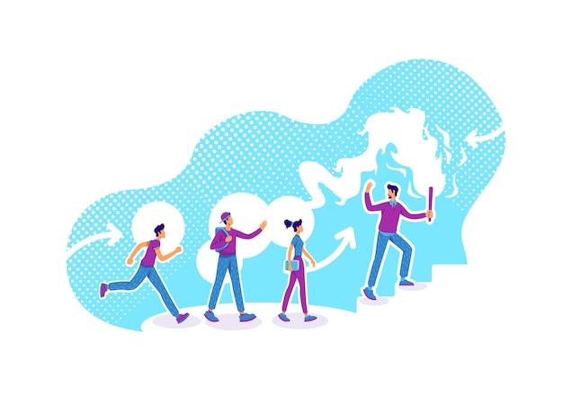 Illustrazione di concetto piatto orientamento alla carriera. consulenza aziendale. formazione dei dipendenti. team leader e colleghi personaggi dei cartoni animati 2d per il web design. idea creativa di mentore aziendale