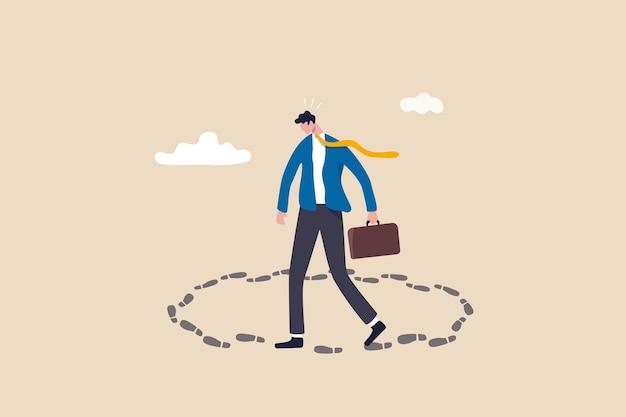 Percorso di carriera senza uscita, lavoro sullo stesso vecchio lavoro ripetitivo, affari come al solito senza motivazione o concetto di lavoro di routine a ciclo infinito, uomo d'affari frustrato che cammina in cerchio senza via d'uscita e senza percorso di carriera.