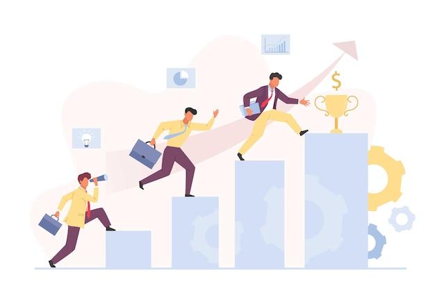 Ascesa di carriera al concetto di successo finanziario. il manager dei personaggi sta gradualmente crescendo