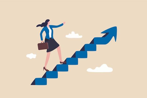 Successo di carriera per donna o concetto di leadership femminile.