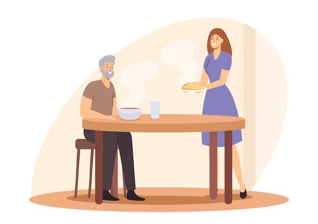 Cura del concetto di anziani. personaggio femminile badante che porta cibo al vecchio. aiuto agli anziani durante la pandemia