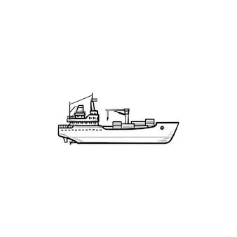 Icona di doodle di contorni disegnati a mano nave portacontainer di carico. trasporto navale, spedizione, concetto di trasporto merci