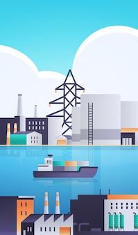 Nave portacontainer merci in mare o fiume fabbrica edificio industriale