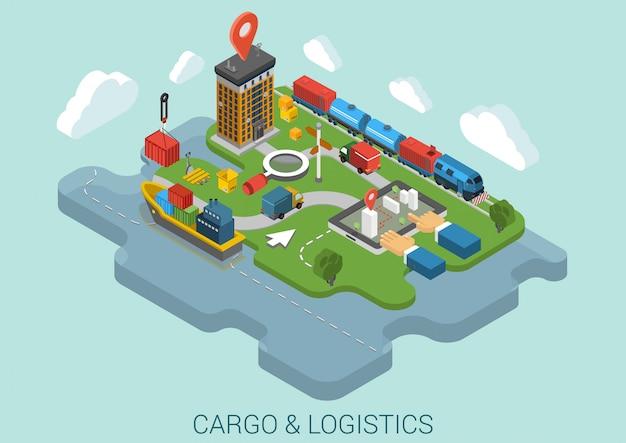 Logistica di consegna del carico che spedisce illustrazione isometrica.