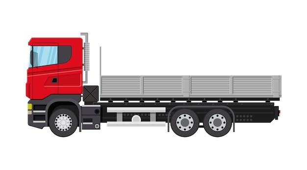 Camion di consegna del carico con piattaforma. spedizione e consegna della merce.