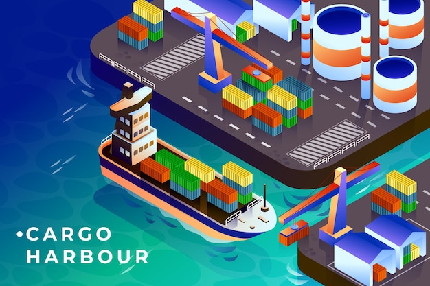 Illustrazione isometrica del porto di carico