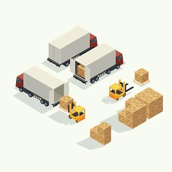 Contenitore del camion e del trasporto di logistica del carico con il contenitore di carico di sollevamento del carrello elevatore a forcale nell'iarda di spedizione. illustrazione vettoriale isometrica