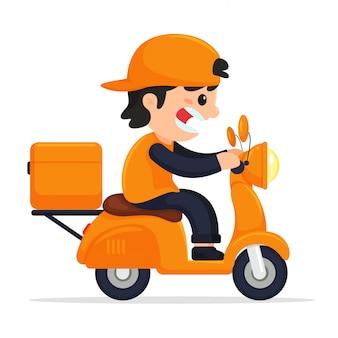 Il personale del carico guida la consegna della motocicletta. consegna del prodotto online tramite applicazione mobile