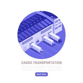 Illustrazione isometrica di trasporto merci con camion che lasciano il magazzino per la consegna delle merci